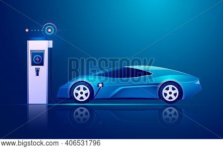 Graphic Of Ev Charger Station With Electric Vehicle In Modern Technology Industries