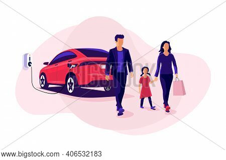 Young Family Shopping While Electric Car Is Charging On Parking Spot Near Store Shop On Charger Wall