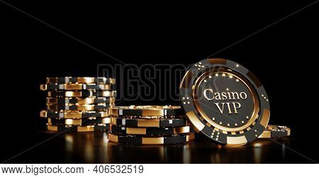 Casino Chips On Black Background. Casino Game Golden 3d Chips. Online Casino Background Banner Or Ca