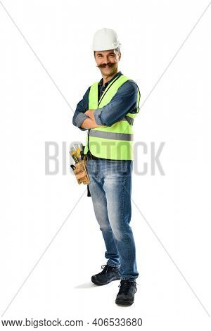Self-confident carpenter with moustache isolated on white background