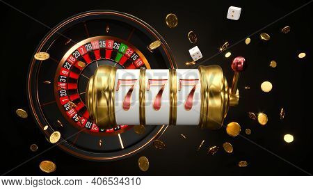 Casino Background. Slot Machine With Roulette Wheel. Online Casino Concept. Falling Poker Chips. 3d