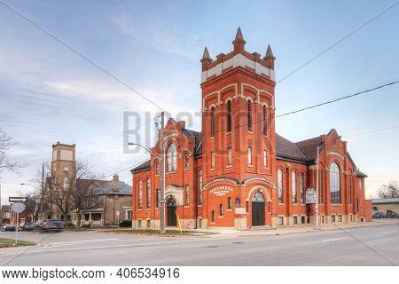 Brantford, Ontario/canada - October 15: The Alexandra Presbyterian Church On [october 15, 2020] In [