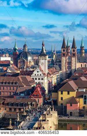 Aerial Sunny View Of Old Town With Cathedral And City Hall In Wurzburg, Franconia, Bavaria, Germany