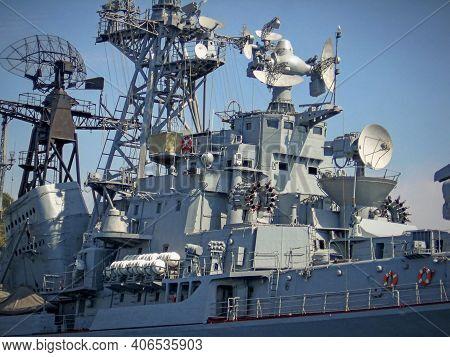 Missile Cruiser (warship, Battleship) Battle Ship Closeup. Aircraft Carrier Russian Military War Bat