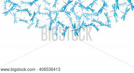 Tropical Cyan Blue Dragonfly Flat Vector Background. Spring Ornate Damselflies. Fancy Dragonfly Flat