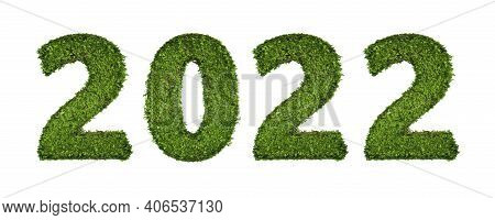 Ivy Plant With Leaves, Green Creeper Bush And Vines Forming 2022 Text Number For Happy New Year Day