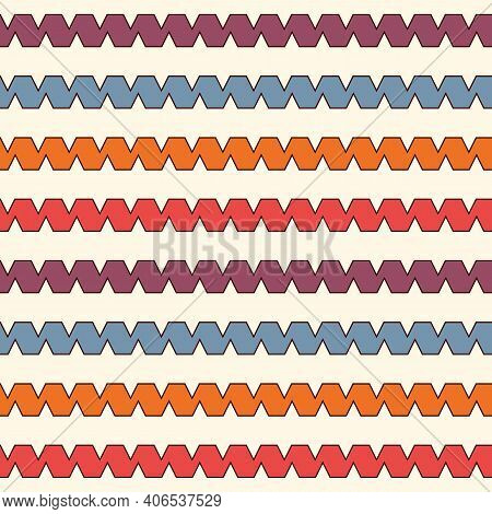 Bright Seamless Pattern With Repeated Curling Ribbon Lines. Horizontal Wavy Stripes Wallpaper. Serpe