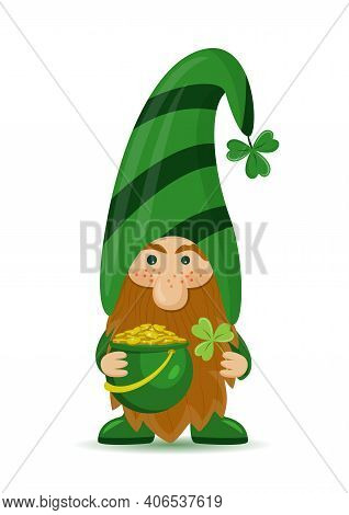 A Cute St Patrick's Day Leprechaun Cartoon Character With Clover And Pot Of Gold. Irish Gnom With Sh