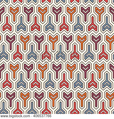 Interlocking Three Pronged Blocks Background. Winder Keys Motif. Ethnic Style Seamless Pattern With