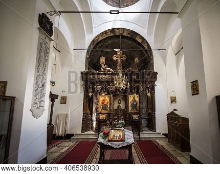 Topola, Serbia - May 27, 2017: Altar In The Interior Of The Oplenac Royal Mausoleum, The Orthodox Ch