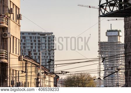 Belgarde, Serbia - October 10, 2020: Close Up Of The Construction Of Belgrade Waterfront, Or Beograd