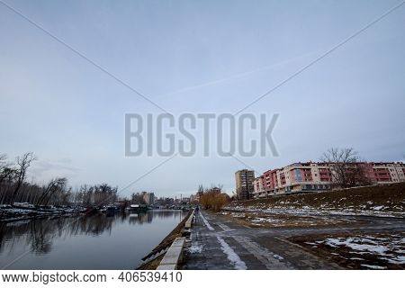 Pancevo, Serbia - December 23, 2018: Panorama Of Tamis River, On Pancevo Waterfront In The Center Of