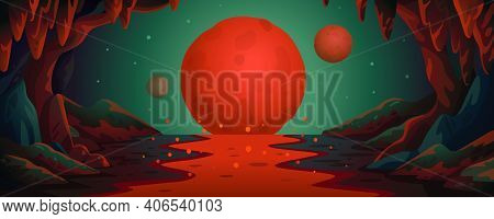 Mars - Vector Cartoon Background. Marsian Cave Landscape With An Underground Lava River And Red Plan