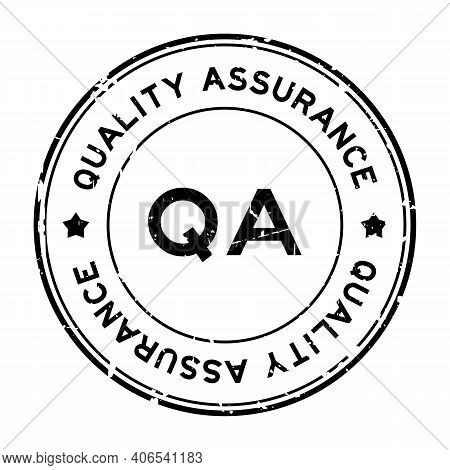 Grunge Black Qa Quality Assurance Word Round Rubber Seal Stamp On White Background
