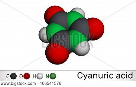 Cyanuric Acid Molecule. It Is Triazine, Enol Tautomer Of Isocyanuric Acid. Molecular Model. 3d Rende
