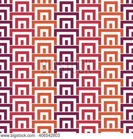 Geometric Seamless Pattern. Geo Surface Print. Repeated Arcs, Brackets Motif. Oriental Ornamental Ba