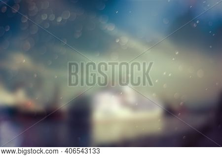 Blurry Image Of A White Steamship Liner In Port. The Concept Of Travel And Recreation. Abstract Back