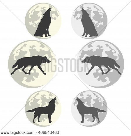 Lone Wolf Silhouette Against Full Moon Disk - Vector Outline Set Of Running, Sitting And Standing Ho
