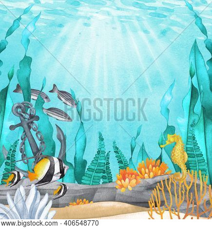 Calm Watercolor Sandy Ocean Bottom With The Stones, Anchor, Coral Reef Plants And Creatures.