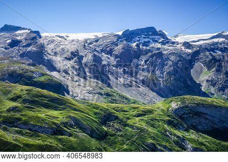 Alpine Glaciers And Mountains Landscape In Pralognan La Vanoise. French Alps.