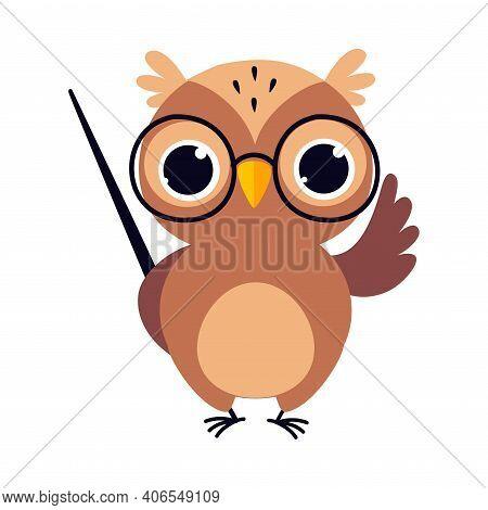 Wise Brown Owl, Cute Bird Teacher Cartoon Character With Pointer Vector Illustration