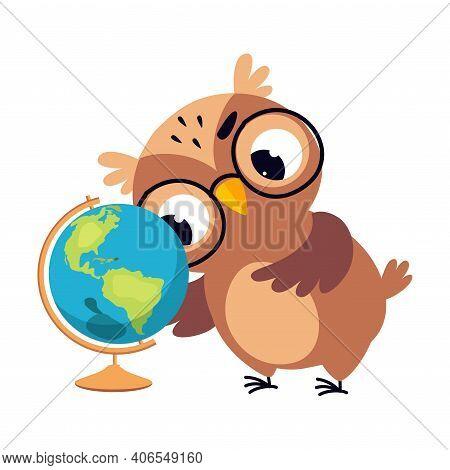 Wise Brown Owl, Cute Bird Teacher Cartoon Character Teaching Geography At School Vector Illustration