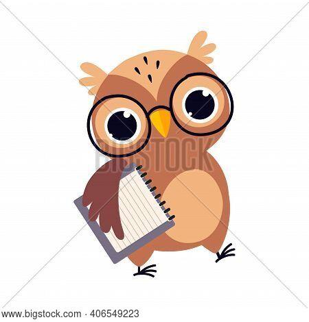Wise Brown Owl, Cute Bird Teacher Cartoon Character Carrying Blank Notebook Vector Illustration