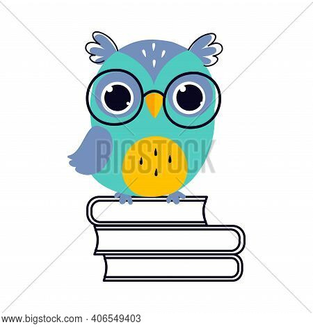 Wise Owl In Glasses, Cute Bird Cartoon Character Sitting On Pile Of Books Vector Illustration