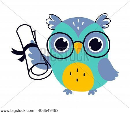Wise Owl In Glasses, Cute Bird Cartoon Character Holding Diploma Scroll Vector Illustration