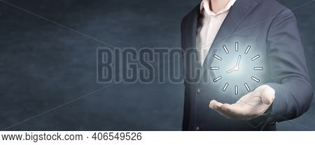 Businessman Hold Time. Businessman Hand Holding Clock, Business Time Management And Business Plans C