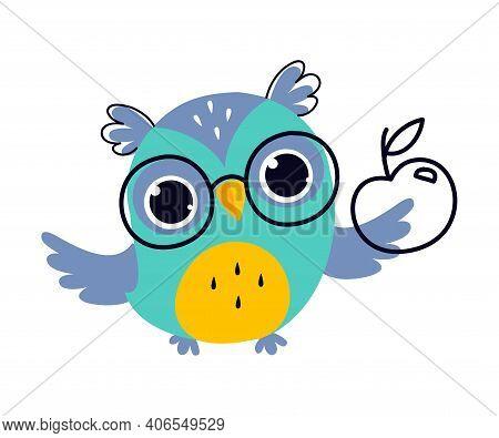 Wise Owl In Glasses, Cute Bird Teacher Cartoon Character Vector Illustration