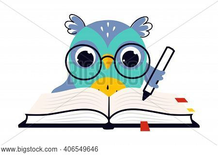 Wise Owl In Glasses, Cute Bird Teacher Cartoon Character Writing With Pen In Notebook Vector Illustr