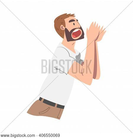 Bearded Man Character Holding Hand Near Mouth And Shouting Or Screaming Loud To The Side Vector Illu
