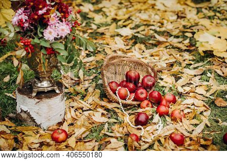 Autumn Wedding Ceremony On The Street On The Green Lawn.decor With Arches Of Fresh Flowers For The C