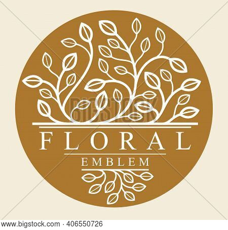 Luxury Classic Style Elegant Vector Floral Emblem On Dark Background, Round Shape Boutique Or Hotel
