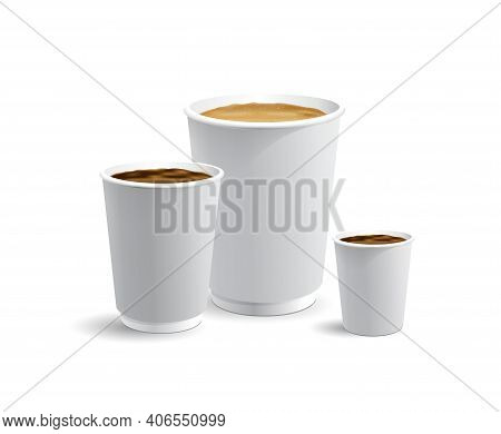 Set Of White Papar Take Away Coffee Cups For Latte Cappuccino And Esspresso Or Americano Full With C