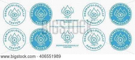 Concept - Dermatologically Tested. Tested Eye Drops And A Medical Cross Are A Symbol Of Clinical Exa