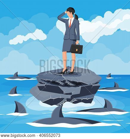 Worried Businesswoman On Tiny Island In Sea And Surrounded By Sharks. Desperate Business Woman Again