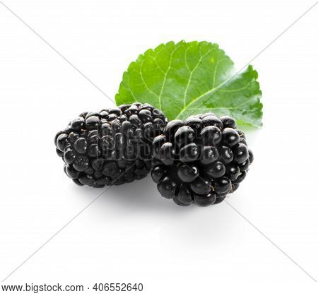 Blackberries And Isolated On A White Background