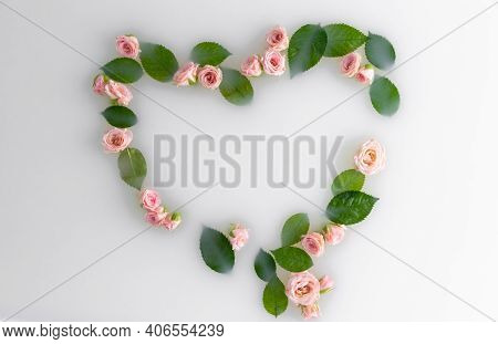 Heart Shaped Pink Roses In White Water. Postcard Put On Valentines Made Of Flowers