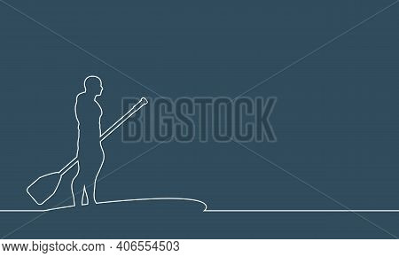 Man Posing With Surfboard And Paddle. Stand Up Paddle Boarding. Thin Line Style. Place For Text