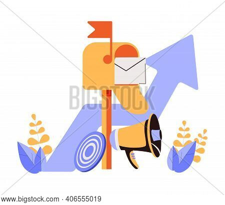 Email Infographics Pictogram. Envelope Is In Mailbox. Message In Mail. Strategy, Management And Mark