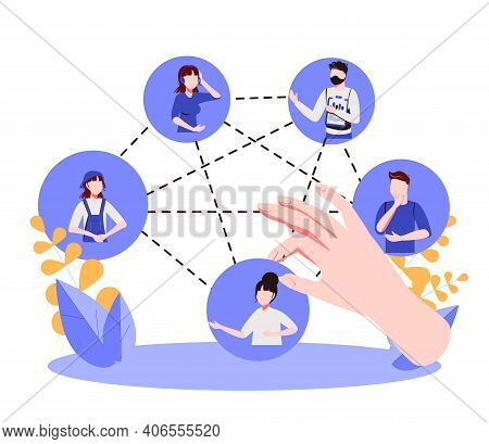 Building Team With Members Selection For Work Project Tiny Persons Concept. Professional Recruitment