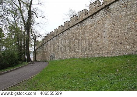 Prague, Czech - April 24, 2012: It Is A Fragment Of A Well-matured Medieval City Fortification Calle