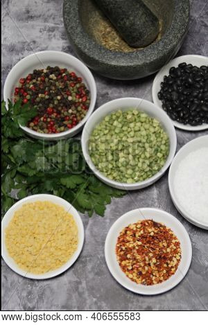 Colorful Spices And Legumes, Fresh Parsley And Stone Mortar, Pepper, Hot Pepper, Coarse Rock Salt, B