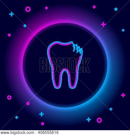 Glowing Neon Line Broken Tooth Icon Isolated On Black Background. Dental Problem Icon. Dental Care S