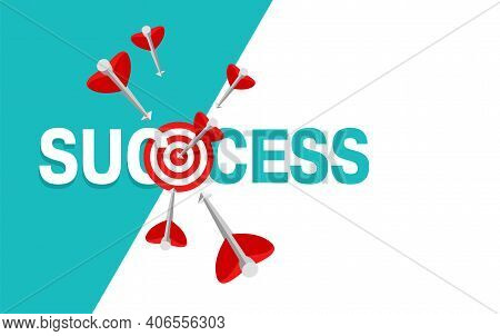 Success Concept With Copy Space - Business Strategy And Targeting Success - Bulls Eye Hit In Archery