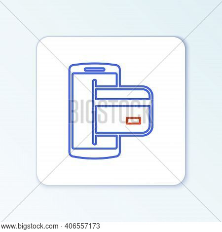 Line Nfc Payment Icon Isolated On White Background. Mobile Payment. Nfc Smartphone Concept. Transfer