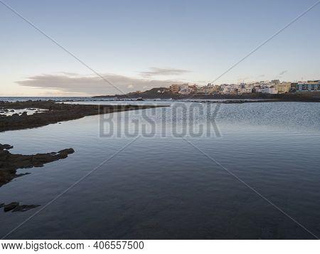 Natural Sea Swimming Pool Charco De San Lorenzo At San Lorenzo Moya With Waves Of Atlantic Ocean Dur