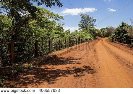 Dirt Road With A Bridge Over Sao Lourenco River, At Sao Paulo State. Araraquara Region